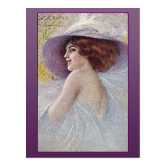 Pretty Woman in a Large Hat Cards and Postcards