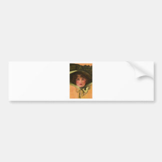 Pretty Woman in Stylish Hat Bumper Stickers