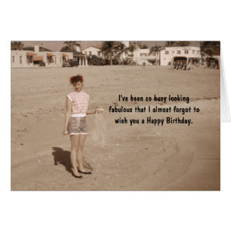 Pretty Woman on the Beach Birthday Humor Card