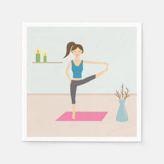 Pretty Woman Practising Yoga In A Stylish Room Paper Napkin