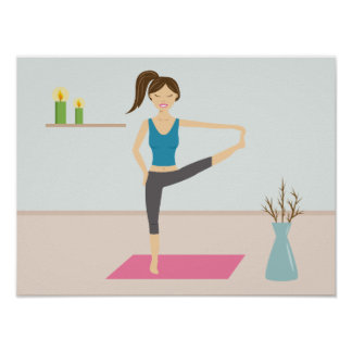 Pretty Woman Practising Yoga In A Stylish Room Poster