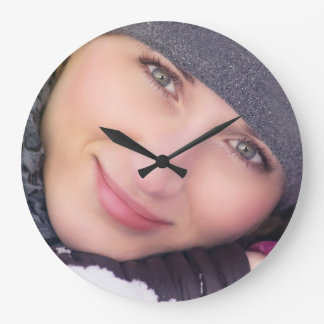 Pretty woman winter portrait large clock