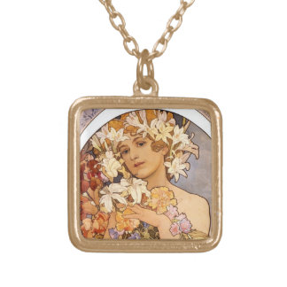 Pretty woman with flowers gold plated necklace