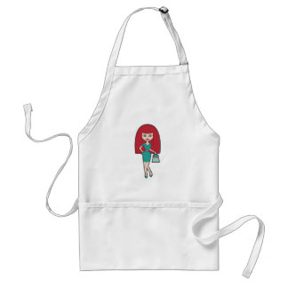 Pretty Woman with retro Handbag Adult Apron