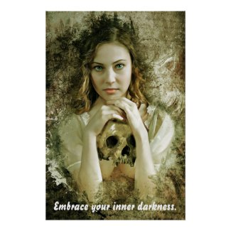 Pretty woman with skull poster
