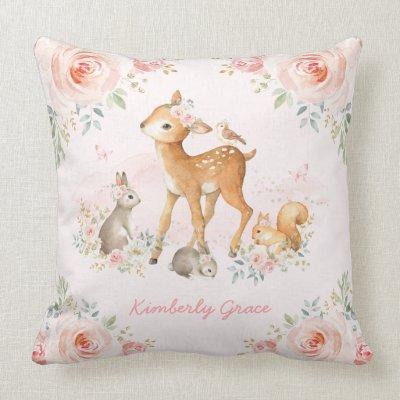 Woodland Deer Pink Fl Peony Nursery Decor Throw Pillow Zazzle