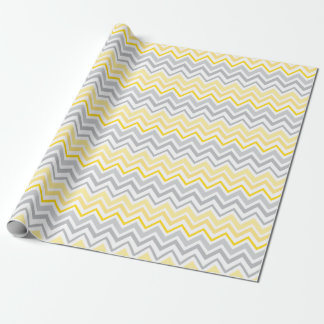 Pretty Yellow and Gray Chevron Wrapping Paper