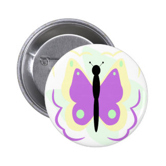 Pretty Yellow And Purple Butterfly Button