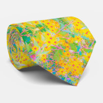 Pretty Yellow and Red Flowers with Turquoise Neck Tie