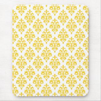 Pretty Yellow and White Damask Mouse Pad