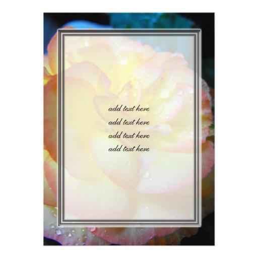 pretty yellow begonia flower personalized invitations