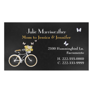 Pretty Yellow Bicycle Custom Mommy Card Double-Sided Standard Business Cards (Pack Of 100)