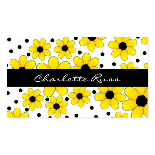 Pretty Yellow & Black Flowers Mommy Card Business Cards