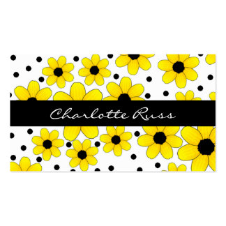 Pretty Yellow & Black Flowers Mommy Card Double-Sided Standard Business Cards (Pack Of 100)