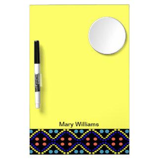 Pretty Yellow Blue Polka Dot Pattern Dry Erase Board With Mirror