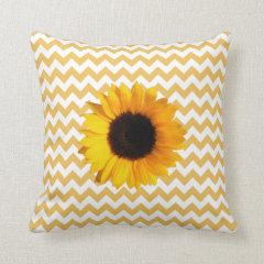 Pretty Yellow Chevron Pattern & Sunflower Throw Pillow