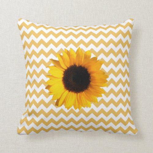 Pretty Yellow Chevron Pattern & Sunflower Throw Pillow