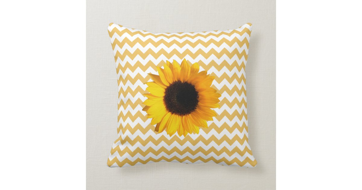 Sunflower Cushion Knitting Pattern : Pretty Yellow Chevron Pattern & Sunflower Throw Pillow Zazzle