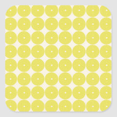 Pretty Yellow Circles Summer Citrus Textured Disks Square Stickers