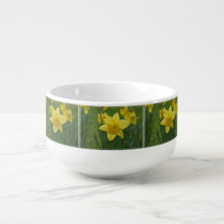 Pretty Yellow Daffodil Soup Bowl With Handle