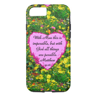 PRETTY YELLOW FLORAL MATTHEWS 19:26 PHOTO DESIGN iPhone 7 CASE