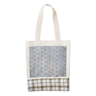 Pretty Yellow Floral on Blue Grunge Stripes Zazzle HEART Tote Bag