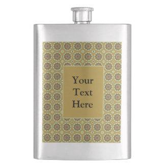 Pretty Yellow Floral Pattern Flask