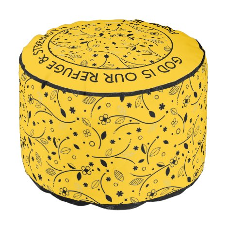 Pretty YELLOW | Floral Print | REFUGE & STRENGTH Pouf