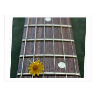 Pretty yellow flower on bass fretboard postcard