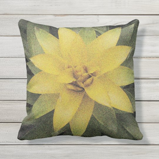 Pretty Yellow Flower Outdoor Floral Throw Pillow Zazzle Com
