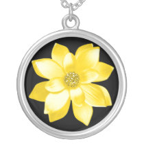 pretty yellow flower silver plated necklace