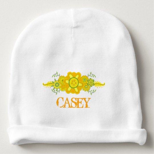 pretty yellow flowers centerpiece name template baby beanie zazzle com