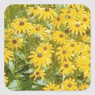Pretty Yellow Flowers  Design Products Square Sticker
