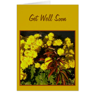 Pretty Yellow Flowers Get Well Soon Template Card