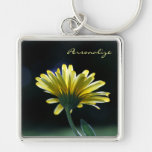 Pretty Yellow Gerber Daisy Flower With Name Silver-Colored Square Keychain