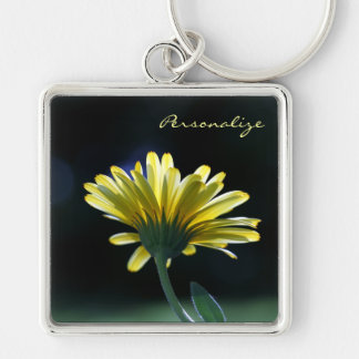 Pretty Yellow Gerber Daisy Flower With Name Keychain