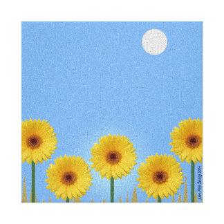 Pretty Yellow Gerbera Daisies in a Row II Canvas Print