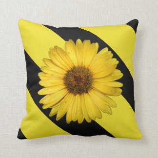 Pretty Yellow Gerbera Daisy on Black and Yellow Pillow