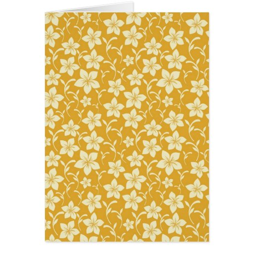 Pretty Yellow Gold Floral Pattern Spring Autumn Card