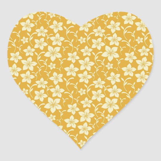 Pretty Yellow Gold Floral Pattern Spring Autumn Heart Sticker