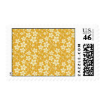 Pretty Yellow Gold Floral Pattern Spring Autumn Postage Stamps