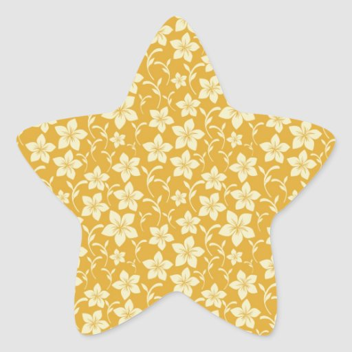 Pretty Yellow Gold Floral Pattern Spring Autumn Star Stickers