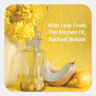Pretty Yellow Home Made Food Label Square Sticker