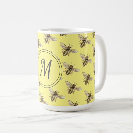 Pretty Yellow Honey Bee Monogram Pattern Nature Coffee Mug