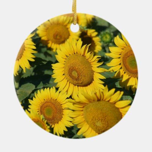 Pretty Yellow Kansas Sunflowers Ceramic Ornament