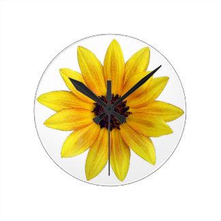 Pretty Yellow Orange Sunflower of 2014 Round Clock