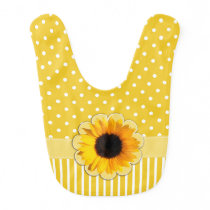 Pretty Yellow Patterns and Sunflower Baby Bib