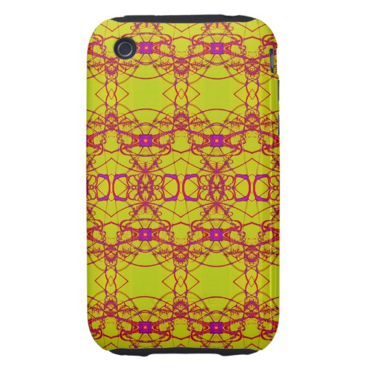 pretty yellow pink lace look pattern iPhone 3 tough case