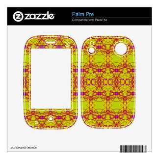 pretty yellow pink lace look pattern decal for the palm pre