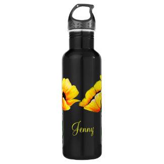 Pretty Yellow Poppies Water Bottle